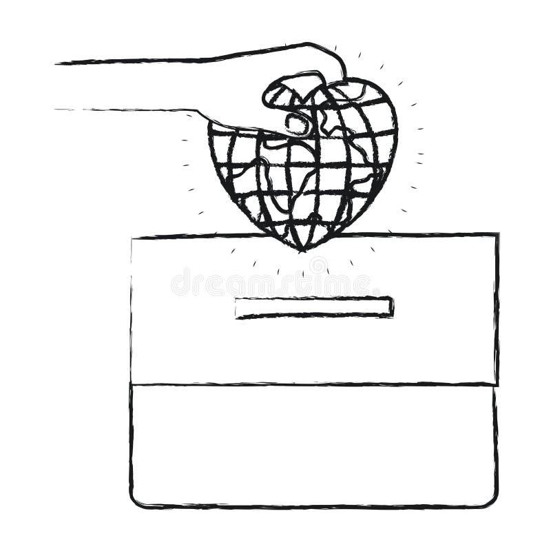 有平的地球地球世界的被弄脏的剪影正面图手在放置在纸盒箱子的心形 库存例证