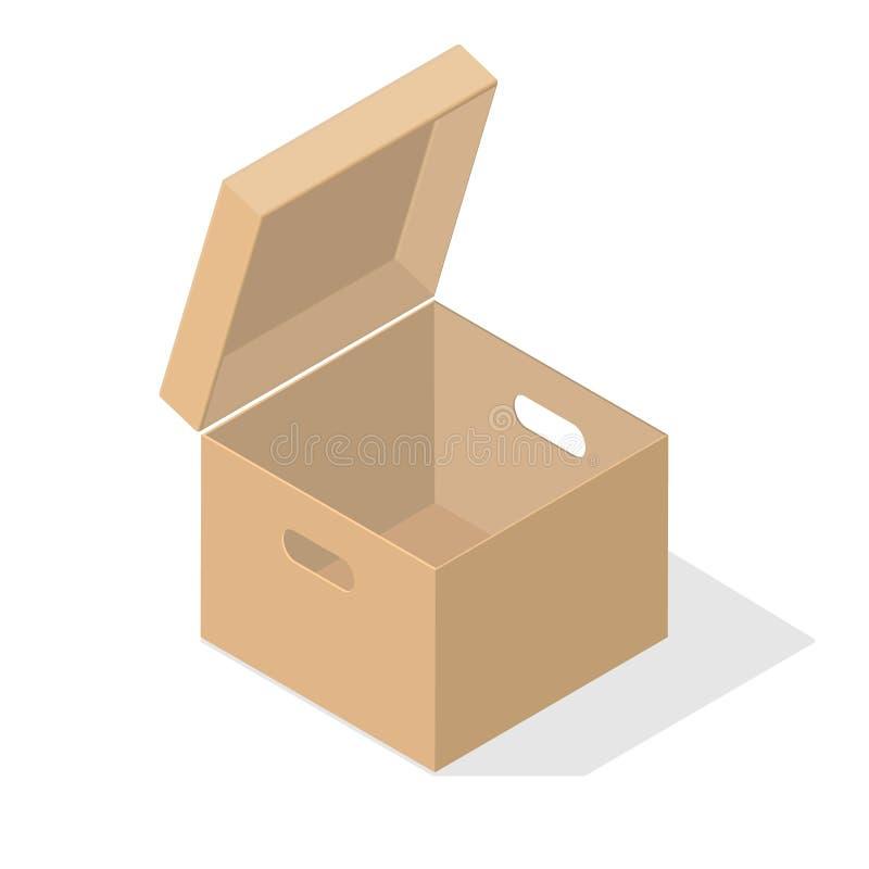 有平的阴影的纸板箱 向量例证