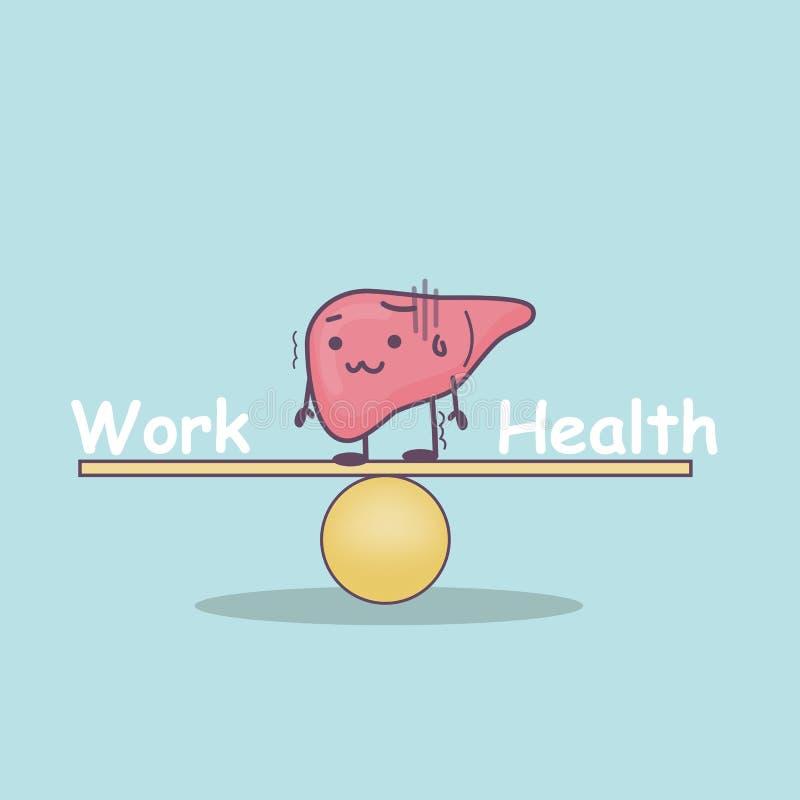 有平衡的逗人喜爱的动画片肝脏 向量例证