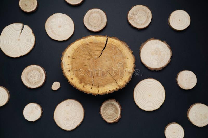 有年轮的松树横断面在黑背景 木材片断特写镜头,顶视图 免版税库存照片