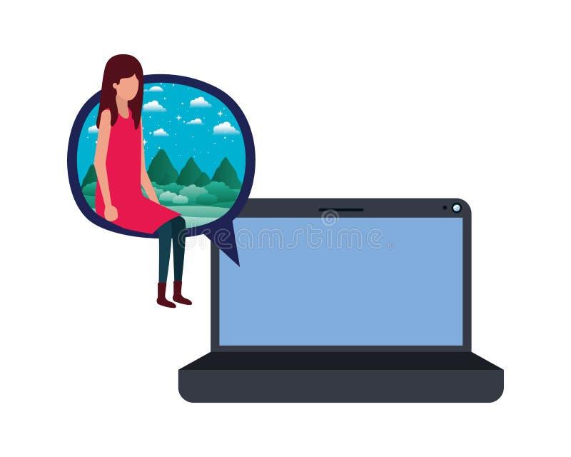 有年轻女人坐的具体化字符的设备屏幕 向量例证