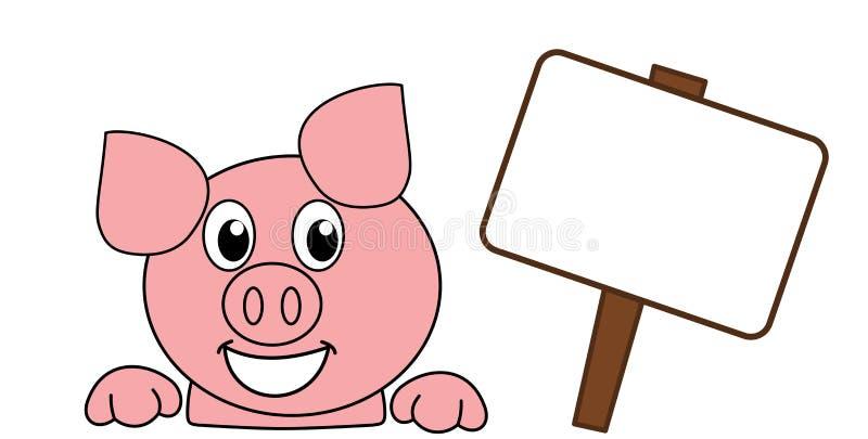 有广告牌的一个微笑和愉快的猪的头 库存例证
