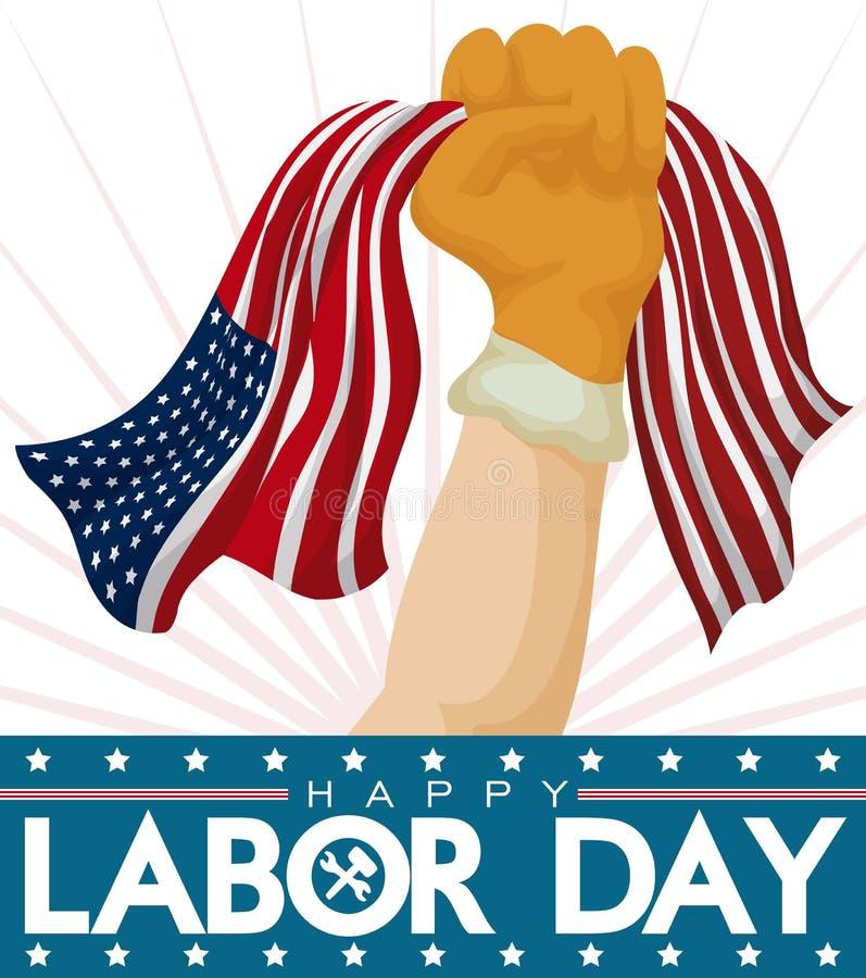 有庆祝劳动节,传染媒介例证的美国国旗的骄傲的工作者拳头 库存例证