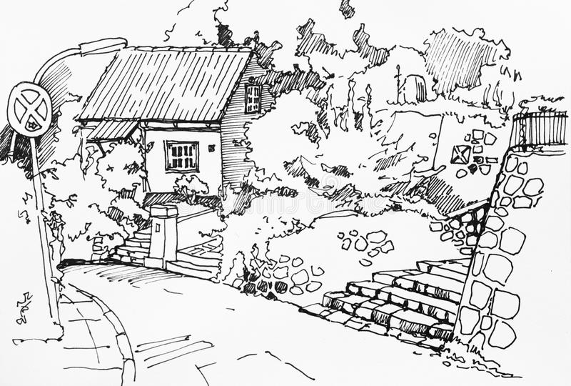 有庭院、石大阳台和楼梯的农村渔夫房子 向量例证