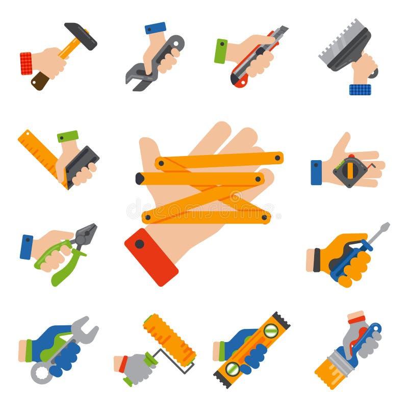 有建筑的手用工具加工工作者设备房子整修杂物工传染媒介例证 库存例证