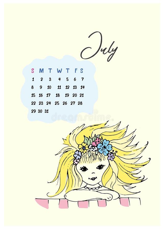 有开发的金发和花花圈乱画女孩在她的头的 皇族释放例证