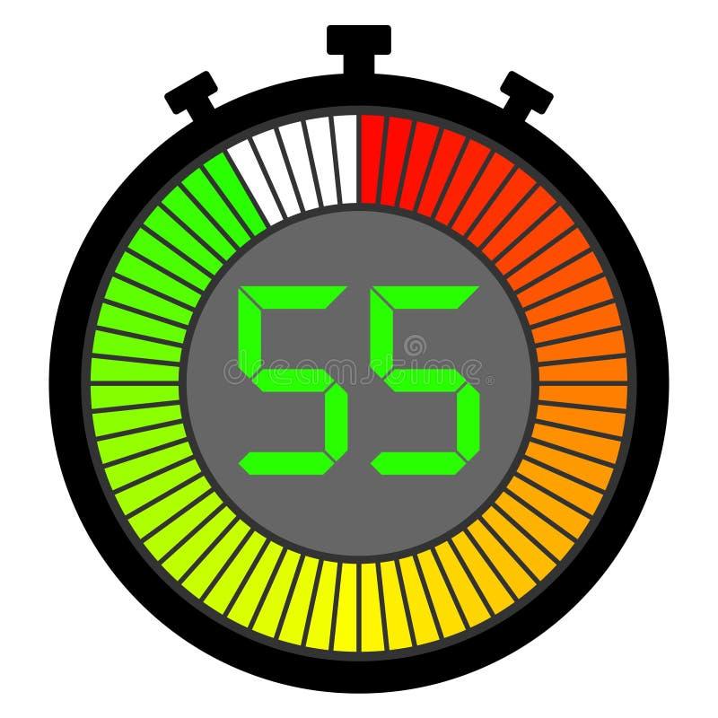 有开始以红色的梯度拨号盘的电子秒表 55秒 向量例证