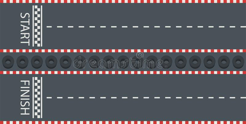 有开始和终点线的路 赛跑的轨道, karting,顶视图 向量例证