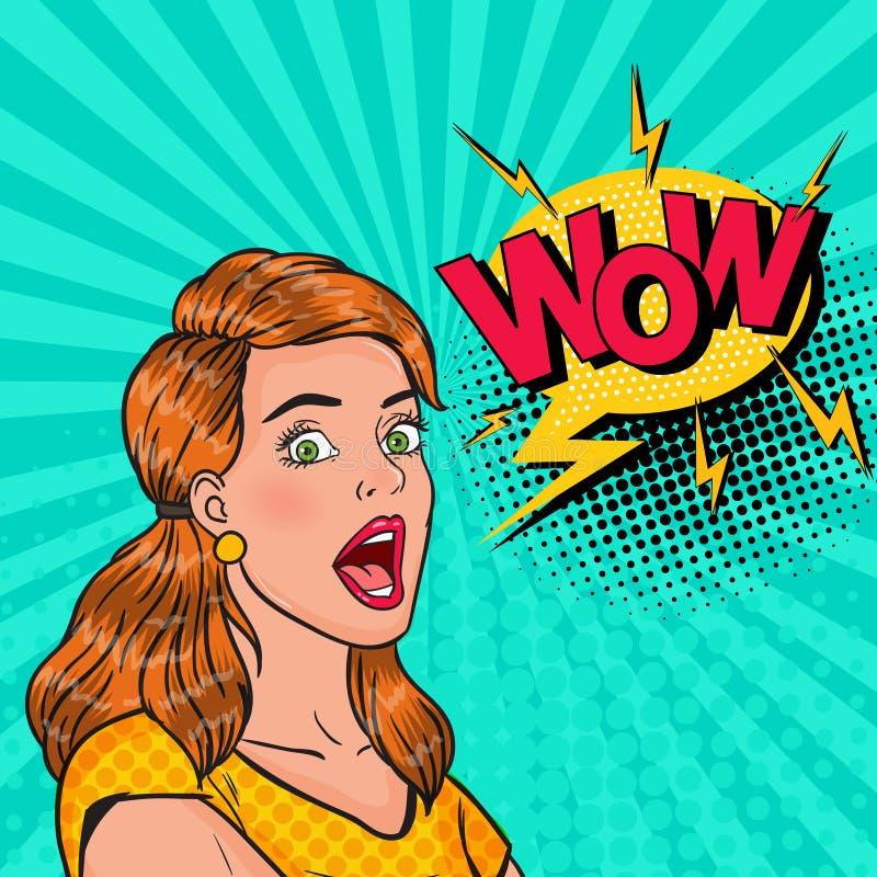 有开放嘴的流行艺术惊奇的女孩 有可笑的讲话泡影的Wow震惊妇女 葡萄酒广告海报, Pin 皇族释放例证
