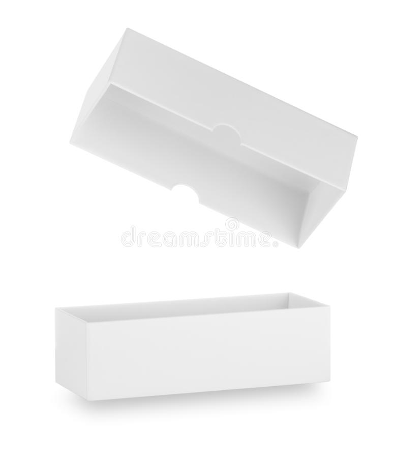 有开放的盒盖的白色箱子 免版税库存图片