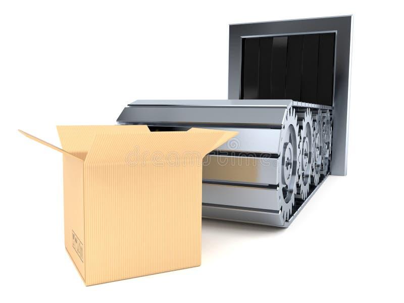 有开放箱子的传送带 皇族释放例证