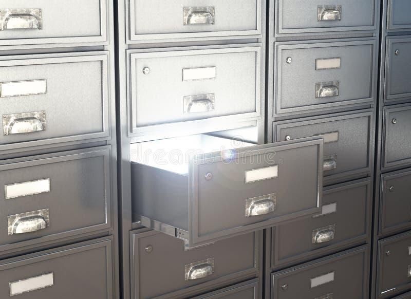 有开放箱子的碗柜存贮的 皇族释放例证