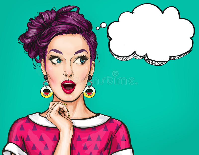 有开放嘴的惊奇的年轻性感的妇女 可笑的妇女 惊奇妇女 流行艺术女孩 皇族释放例证