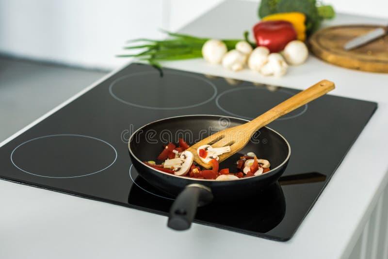有开胃菜的煎锅在电火炉 免版税库存照片