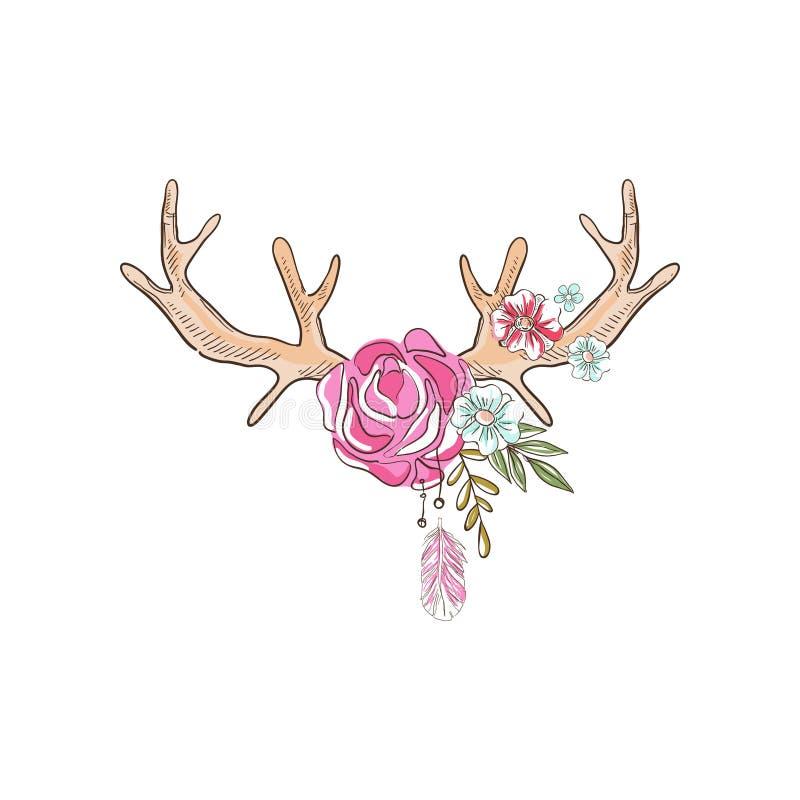 有开花植物的鹿角,与鹿垫铁的手拉的花卉构成导航在白色背景的例证 皇族释放例证