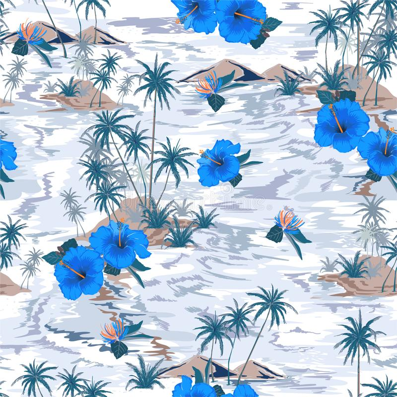 有开花的木槿花、棕榈树和异乎寻常的工厂设计的葡萄酒心情pon单调蓝色海岛夏天天堂所有的 向量例证