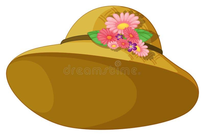 有开花的花的一个帽子 库存例证