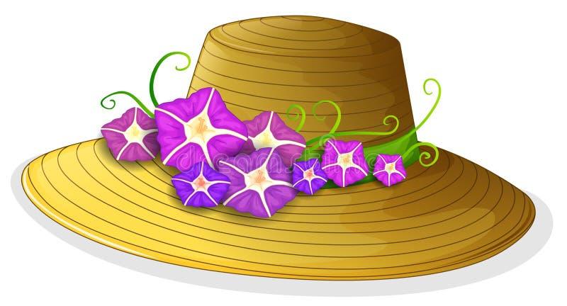 有开花的花的一个棕色帽子 向量例证