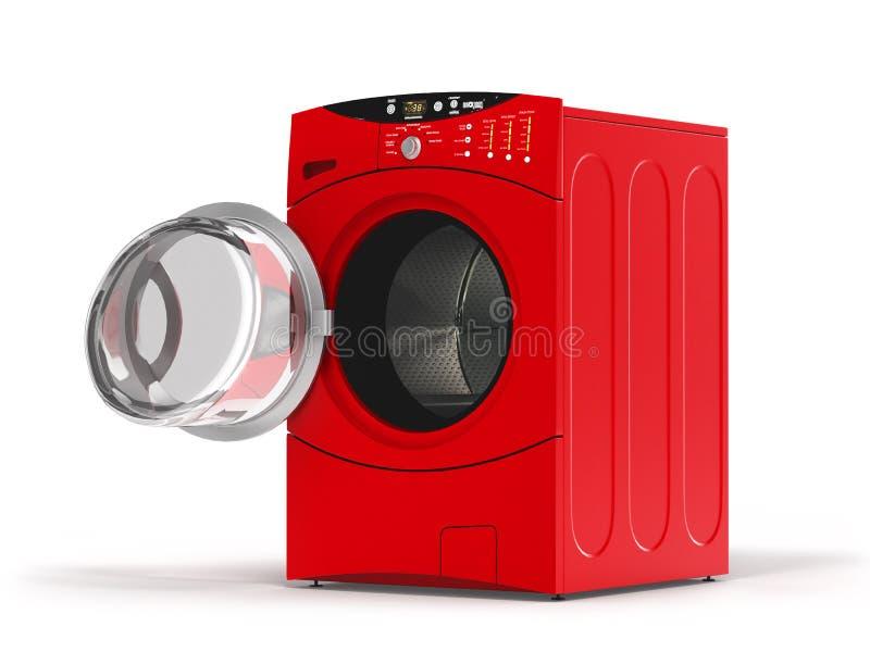 有开门的被隔绝的洗衣机在白色背景 3d例证 库存例证
