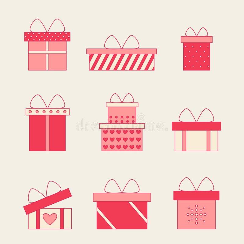有弓和丝带传染媒介集合的五颜六色的礼物盒 皇族释放例证