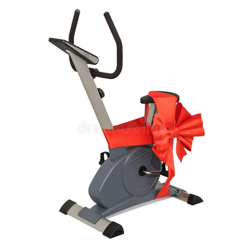 有弓和丝带的,礼物概念固定式锻炼脚踏车 3D r 库存例证