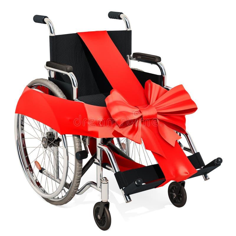 有弓和丝带的,礼物概念手工轮椅 3D renderin 向量例证