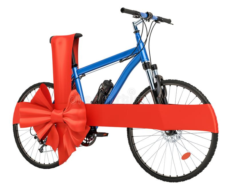有弓和丝带的,礼物概念自行车 3d翻译 库存例证