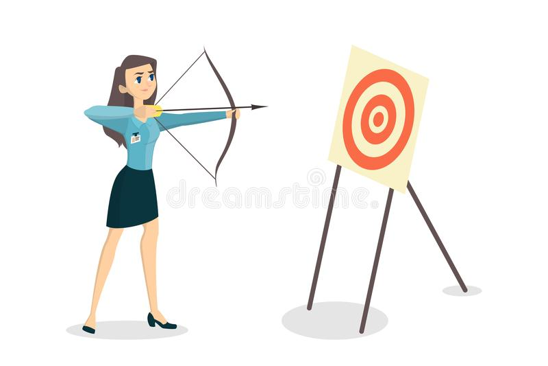 有弓的妇女 向量例证