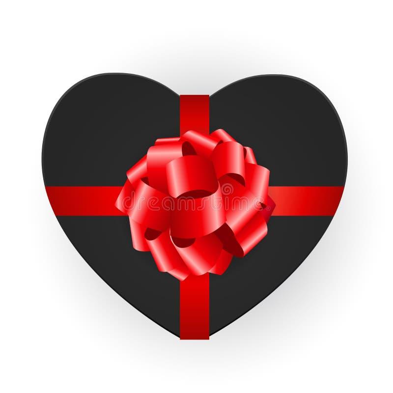 有弓的心形的礼物盒 r 库存例证