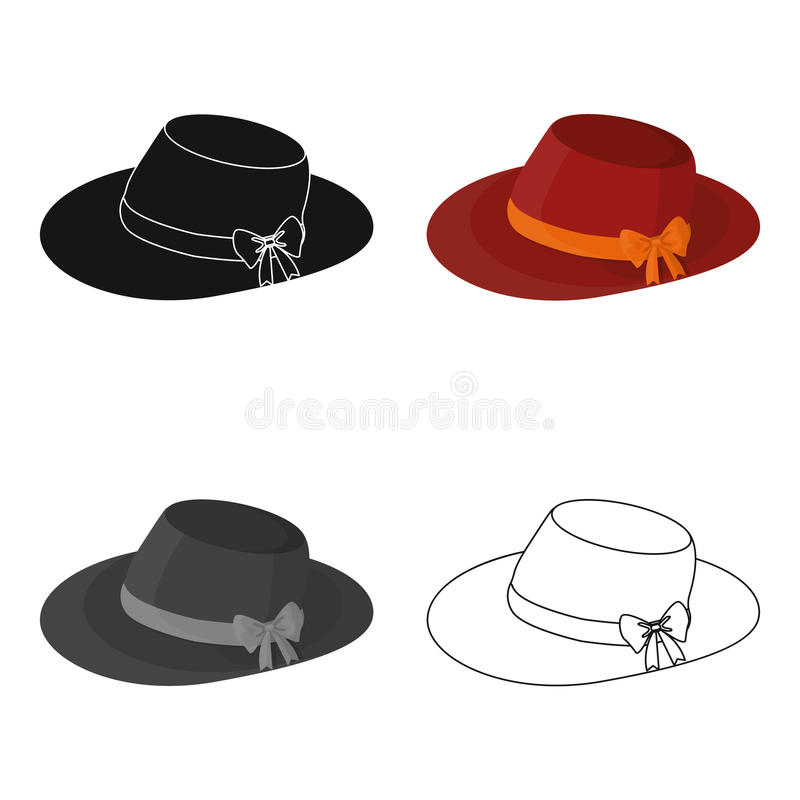 有弓的红色女性帽子 妇女的夏天帽子 妇女在动画片样式传染媒介标志stoc给唯一象穿衣 皇族释放例证