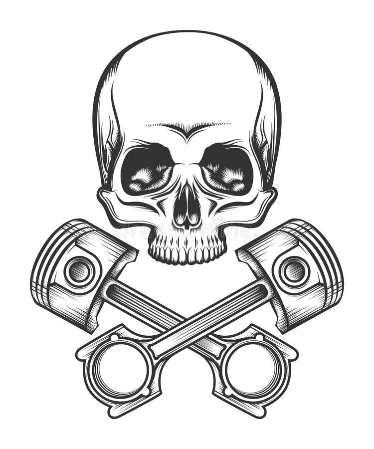 有引擎活塞的人的头骨 库存例证