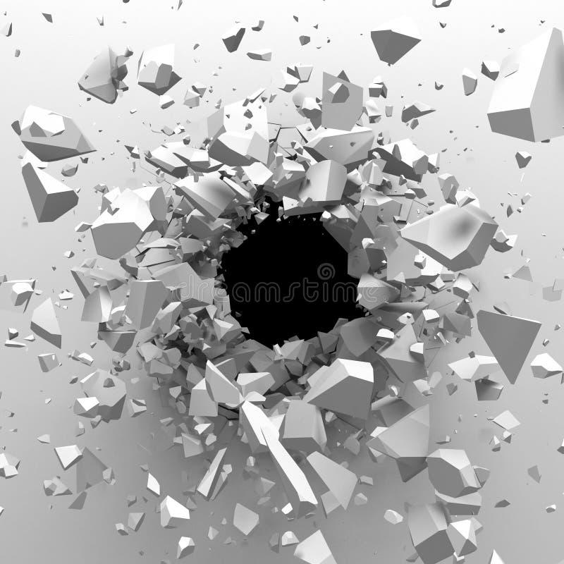 有弹孔的破裂的混凝土墙 破坏抽象bac 免版税库存图片
