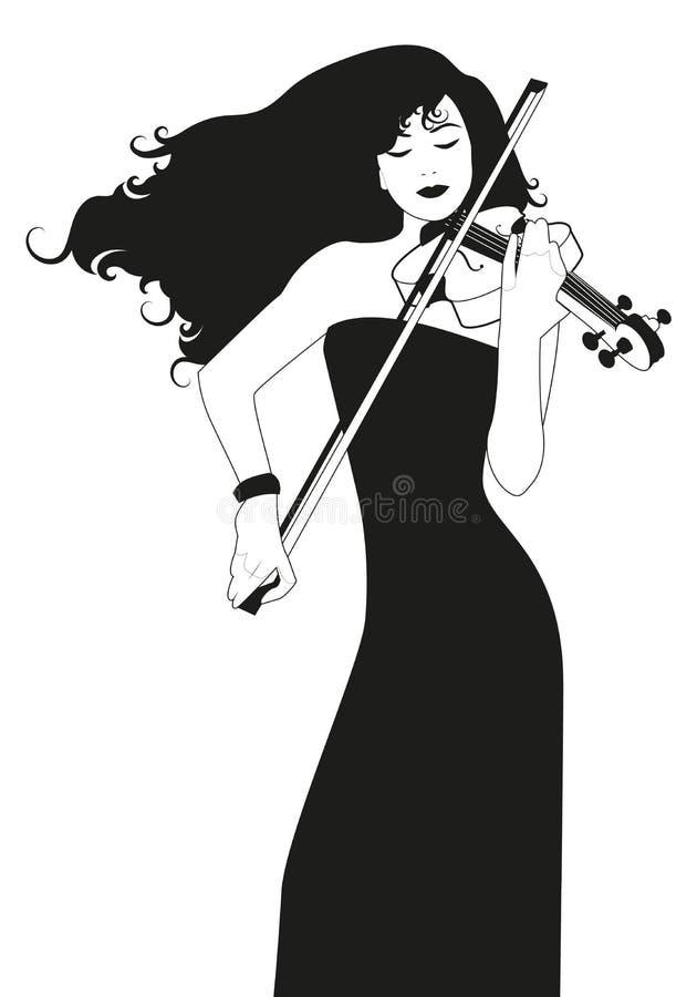 有弹小提琴的长发的美丽的小提琴手妇女隔绝在白色背景 皇族释放例证