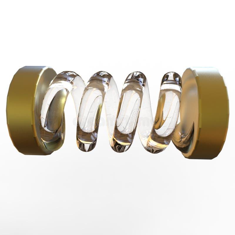有弹性春天 不同的颜色金属螺旋,有弹性 向量例证