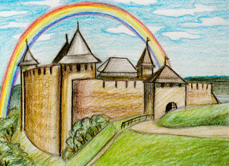 有彩虹的霍京堡垒 库存例证