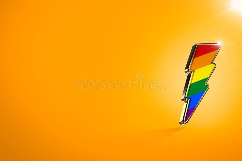 有彩虹颜色的雷电对此当自豪感标志和运动男女平等概念的 在橙色背景 皇族释放例证