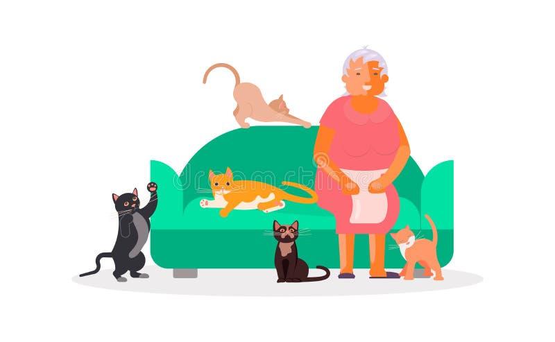 有很多猫的资深妇女 库存例证