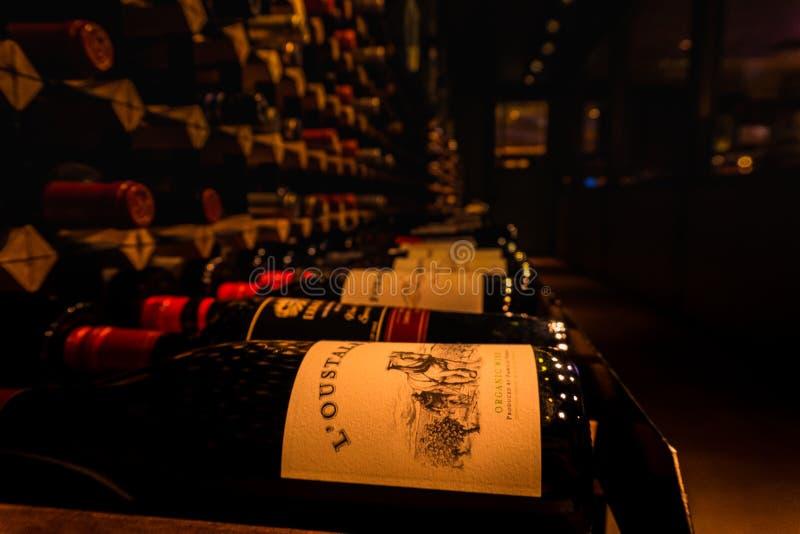 有很多酒瓶的葡萄酒库 库存图片