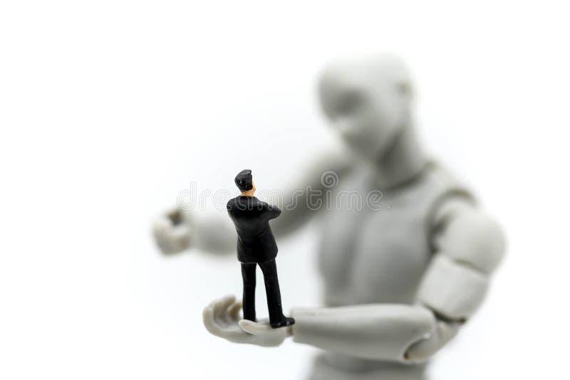 有微型人商人、事务和techn的式样机器人 库存图片