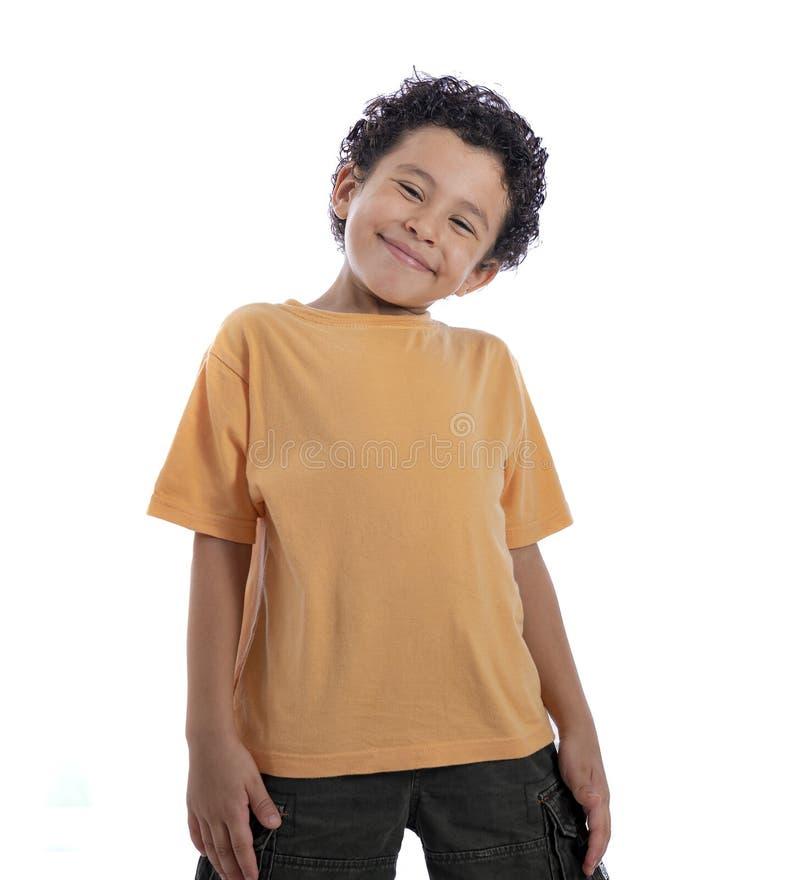 有微笑的愉快的年轻男孩 图库摄影