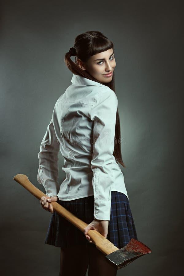有微笑的表示的美丽的精神分析的女孩 图库摄影