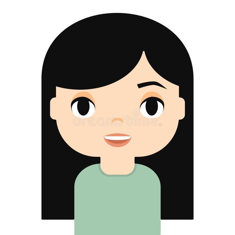 有微笑的面孔的妇女具体化 女性漫画人物 女孩愉快的年轻人 美好的人象 库存例证