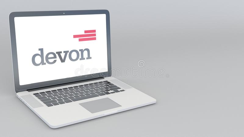 有德文郡能量商标的打开的和关闭的膝上型计算机 4K社论3D翻译 皇族释放例证