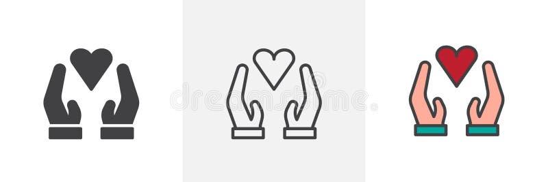 有心脏不同的样式象的手 向量例证