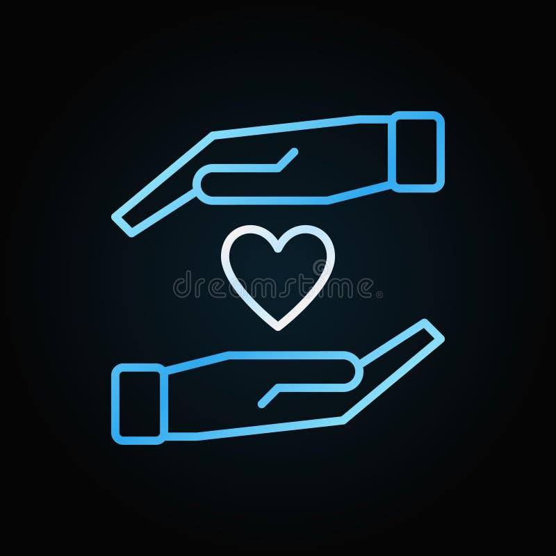 有心脏传染媒介五颜六色的概述象或标志的手 皇族释放例证