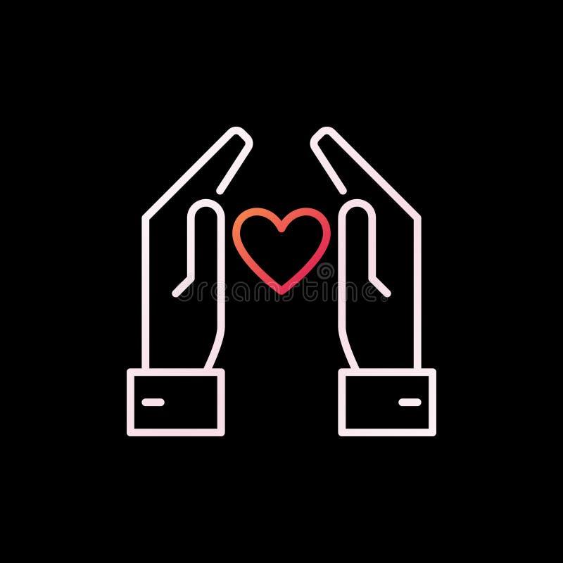 有心脏传染媒介五颜六色的概述象或标志的手 向量例证