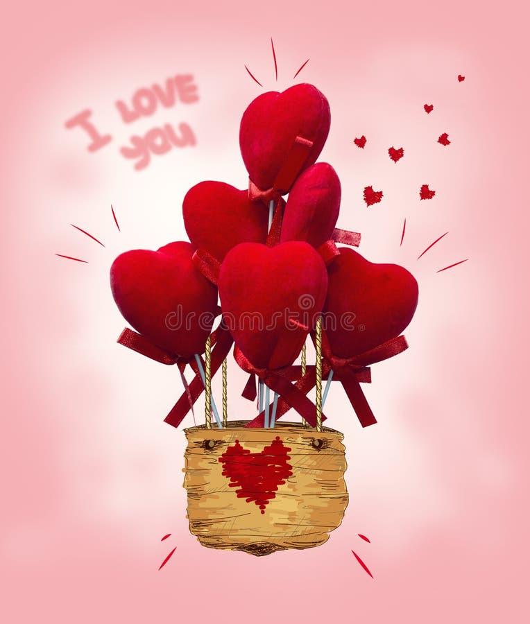 有心脏和我爱你标志的气球