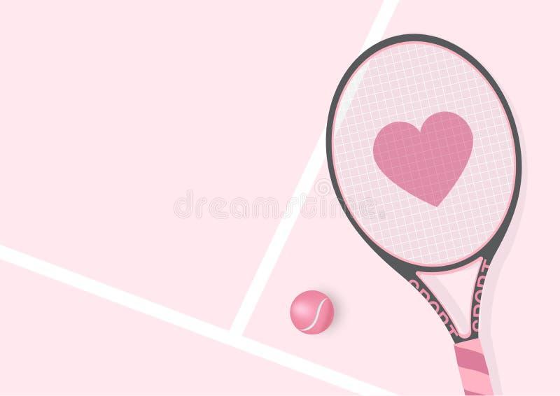 有心脏和网球背景例证的现实粉红彩笔球拍 库存例证