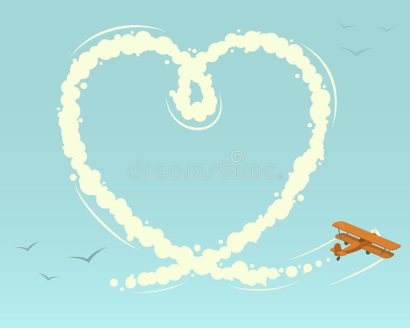 有心脏形状的双翼飞机 向量例证