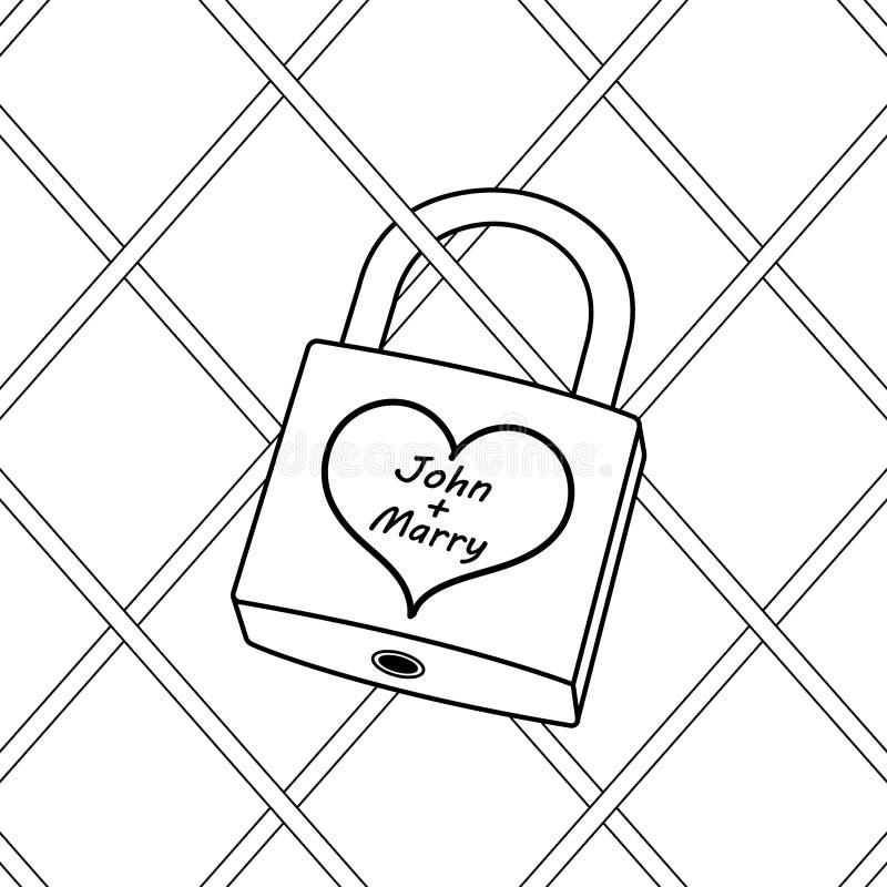 有心脏彩图传染媒介的挂锁 皇族释放例证